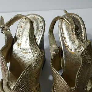 BCBGeneration Shoes - Gold open toe shoes